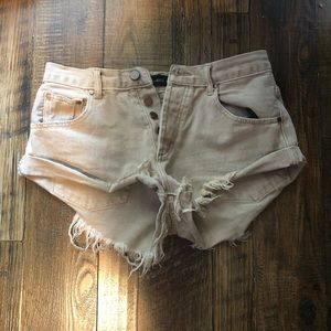 Mustard Seed Shorts - Beige high waisted shorts
